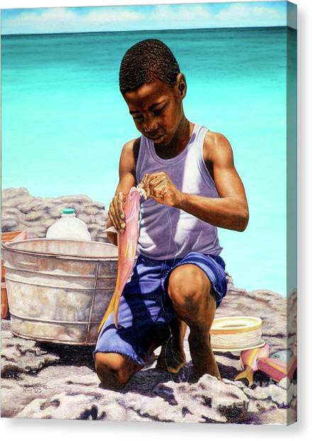 Lil Fisherman Canvas Print
