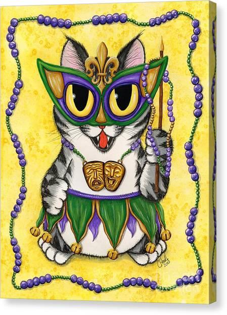 Lil Mardi Gras Cat Canvas Print