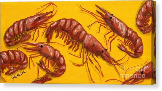 Shrimping Canvas Print - Lil Shrimp by JoAnn Wheeler