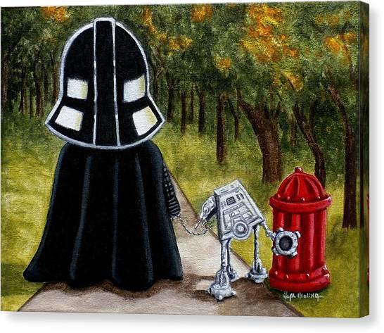 Lil Vader Walking His At At Canvas Print