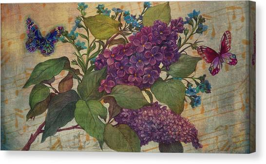 Canvas Print featuring the painting Lilac Dreams Illustrated Butterfly by Judith Cheng
