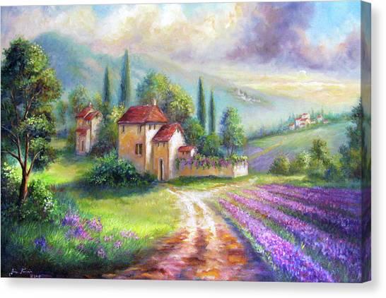 Gina Femrite Canvas Print - Lilac Fields In The Italian Countryside   by Regina Femrite