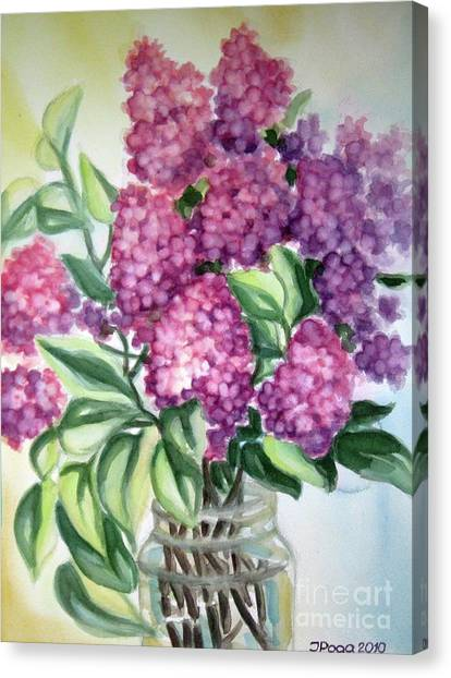 Lilac On The Kitchen Table Canvas Print