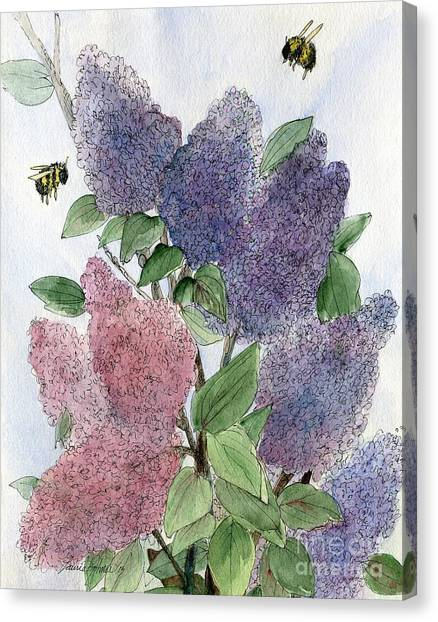 Lilacs And Bees Canvas Print