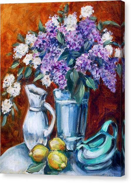 Lilacs And Lemons Canvas Print by Sheila Tajima