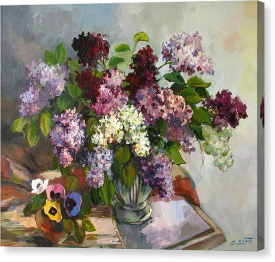 Lilacs And Pansies Canvas Print