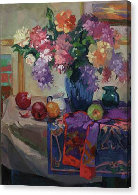Lilacs And Peonies Canvas Print