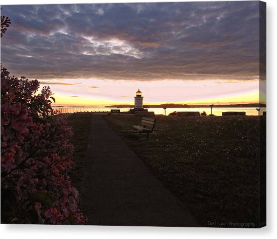 Lilacs At Portland Breakwater Light Canvas Print