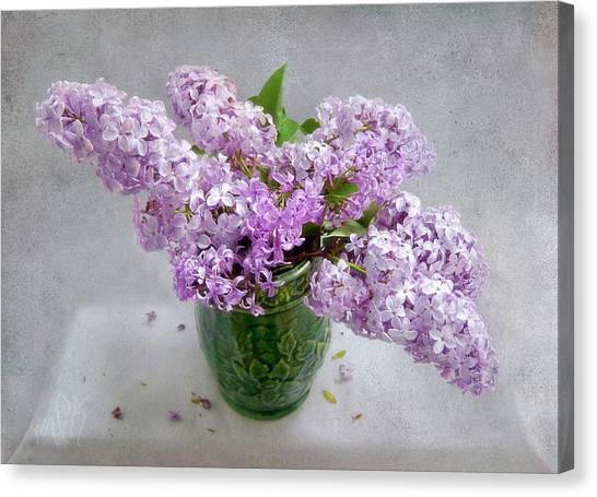 Lilacs In A Green Tankard Still Life Canvas Print
