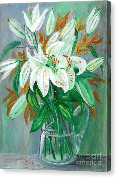 Lilies In A Glass Vase - Painting Canvas Print