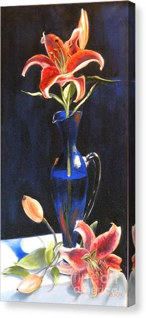 Lilies In Cobalt Canvas Print by Susan A Becker