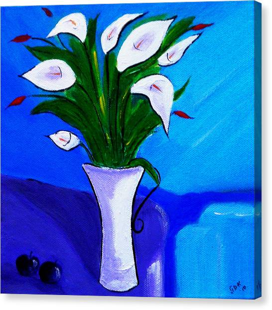Lilies On My Table Canvas Print