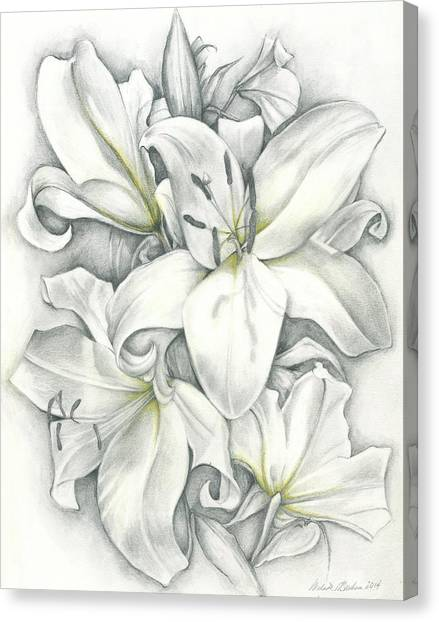 Lilies Pencil Canvas Print