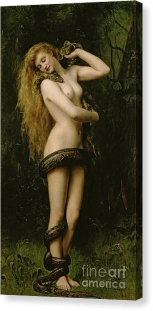 Garden Snakes Canvas Print - Lilith by John Collier