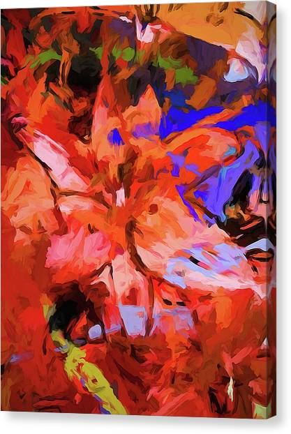 Lily Cobalt Orange Canvas Print