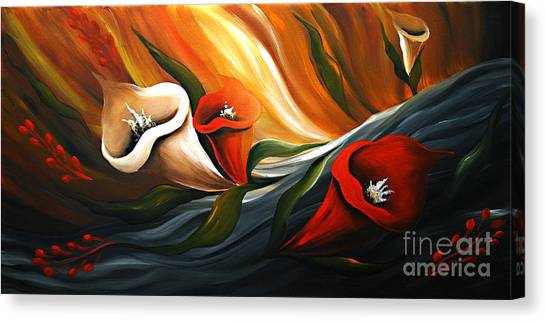 Lily In Flow Canvas Print by Uma Devi