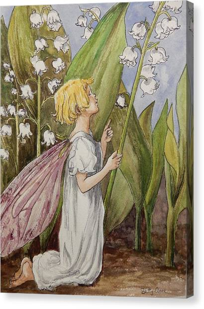 Lily Of The Valley Fairy After Cicely Mary Barker Canvas Print