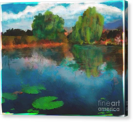 Canvas Print featuring the photograph Lily Pond A La Torrie by Dee Flouton