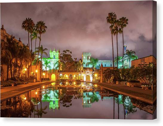 Lily Pond At Night Canvas Print