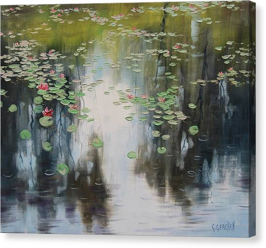 Lily Pond Canvas Print - lily Pond  by Graham Gercken