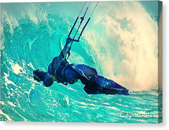 Beach Style Canvas Print - Lily Winds Kitesurfing - Wave by Lily Winds