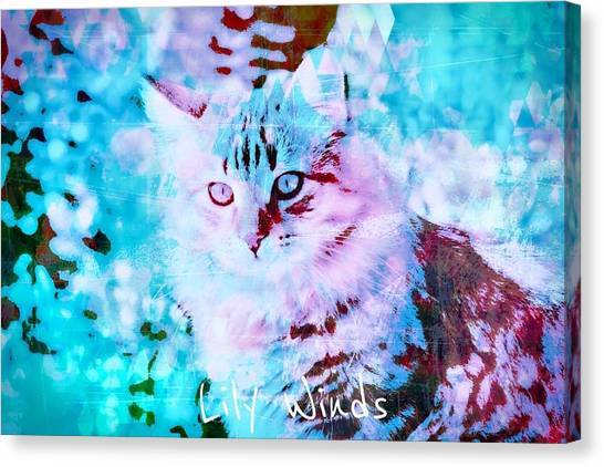 Siberian Cats Canvas Print - Lily Winds Kitty Blue Art by Lily Winds