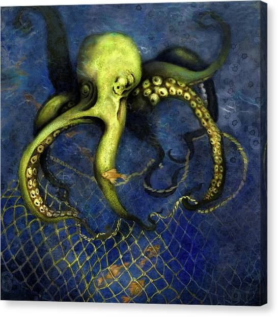 Lime Green Octopus With Net Canvas Print