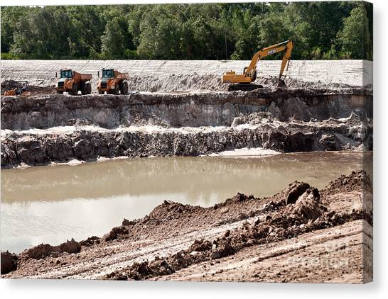 Backhoes Canvas Print - Limestone Pit by Inga Spence