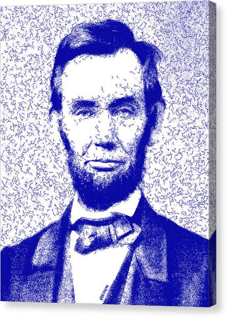 Us Civil War Canvas Print - Lincoln Abstract Blue by Greg Collins