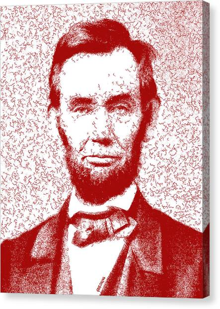 Us Civil War Canvas Print - Lincoln Abstract Red by Greg Collins