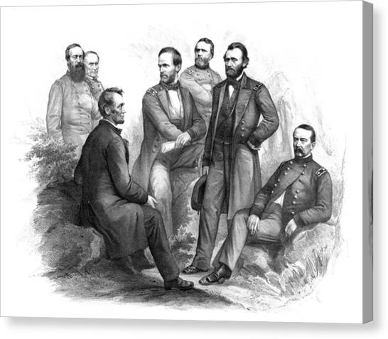 North American Canvas Print - Lincoln And His Generals Black And White by War Is Hell Store
