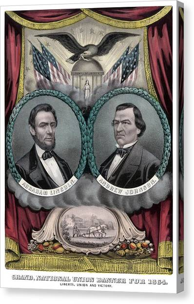 Abraham Lincoln Canvas Print - Lincoln And Johnson Election Banner 1864 by War Is Hell Store