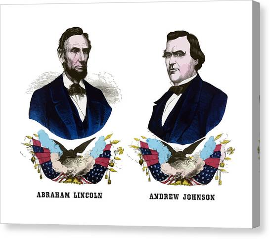 Abraham Lincoln Canvas Print - Lincoln And Johnson Campaign Poster by War Is Hell Store