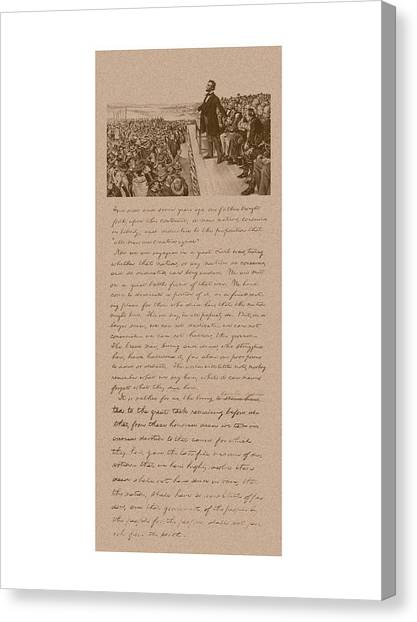 President Canvas Print - Lincoln And The Gettysburg Address by War Is Hell Store