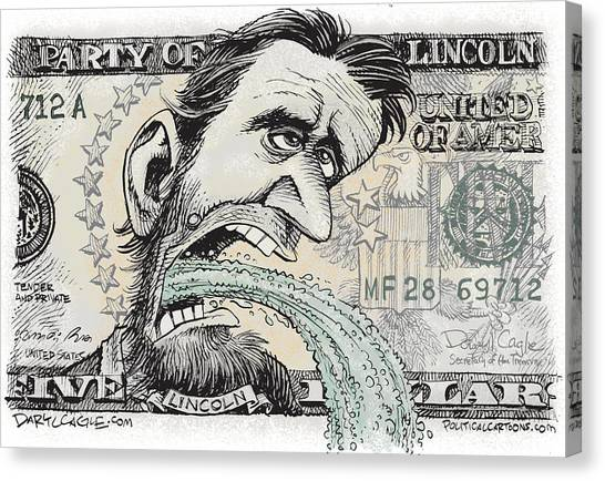 Canvas Print featuring the drawing Lincoln Barfs by Daryl Cagle
