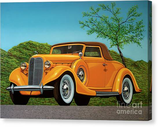 Ponies Canvas Print - Lincoln K Convertible 1935 Painting by Paul Meijering