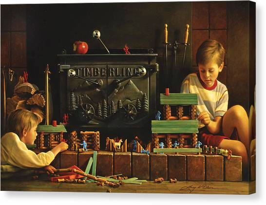 Boy Canvas Print - Lincoln Logs by Greg Olsen