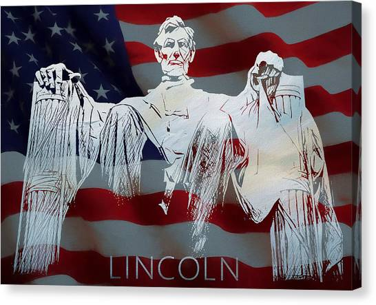 Statue Portrait Canvas Print - Lincoln Memorial American Flag by Dan Sproul