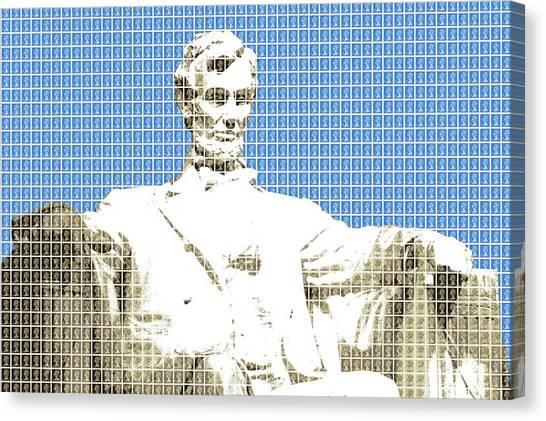 Us Civil War Canvas Print - Lincoln Memorial - Blue by Gary Hogben