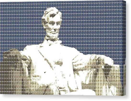 Us Civil War Canvas Print - Lincoln Memorial - Dark Blue by Gary Hogben