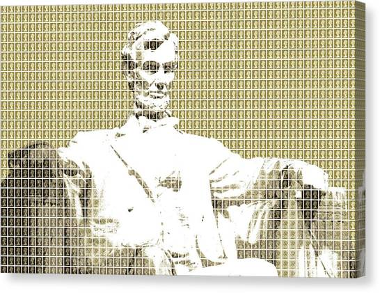 Us Civil War Canvas Print - Lincoln Memorial - Gold by Gary Hogben