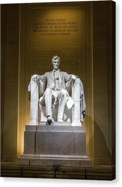 Washington Nationals Canvas Print - Lincoln Memorial by Larry Marshall