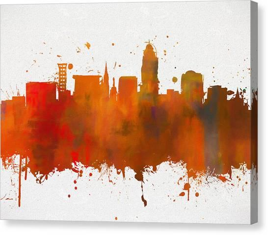 University Of Nebraska Canvas Print - Lincoln Nebraska Colorful Skyline by Dan Sproul
