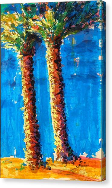 Canvas Print featuring the painting Lincoln Rd Date Palms by Thomas Lupari