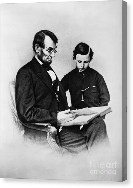 Detention Canvas Print - Lincoln Reading To His Son by Photo Researchers