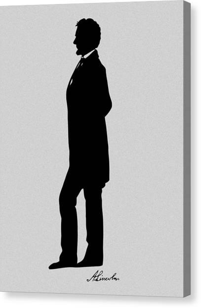 President Canvas Print - Lincoln Silhouette And Signature by War Is Hell Store