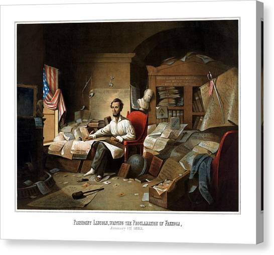 Abraham Lincoln Canvas Print - Lincoln Writing The Emancipation Proclamation by War Is Hell Store