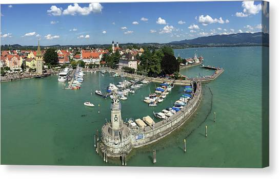 Harbors Canvas Print - Lindau Bodensee Germany Harbor Panorama by Matthias Hauser