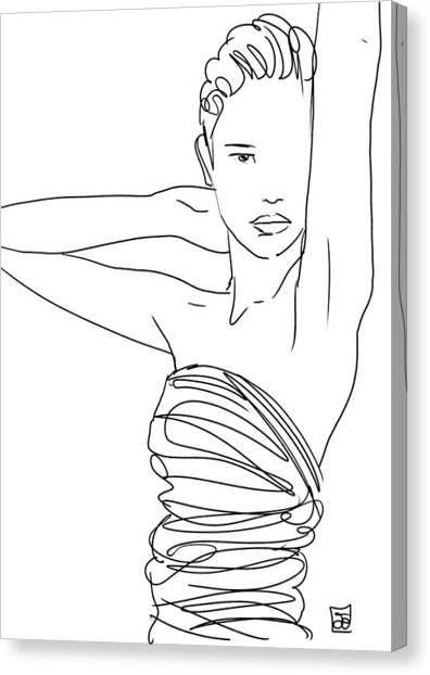 Lines Canvas Print - Line Art Lady by Giuseppe Cristiano
