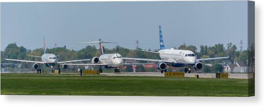 Jetblue Canvas Print - Lined Up by Guy Whiteley